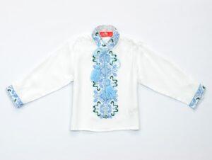 Вышиванка для мальчика штапельная вышивка голубым Морозенко Piccolo