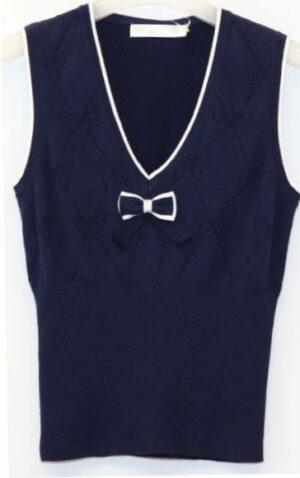 Жилет для дівчинки темно-синього кольору з атласною стрічкою
