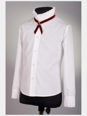 Блуза з довгим рукавом і коміром стійкою