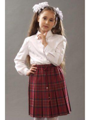 Школьная юбка бордового цвета в складки