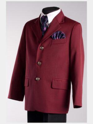 Школьный пиджак для мальчика бордового цвета Велма 014