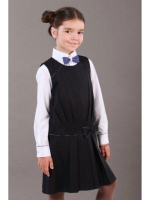 Сарафан для девочки школьный синего цвета