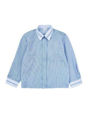 Рубашка для мальчика школьная голубая в полоску Арт.508 Jankes
