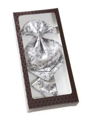 Краватка-пластрон з нагрудною хусткою сірий