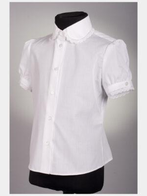 Блуза белого цвета с коротким рукавом для девочки 191
