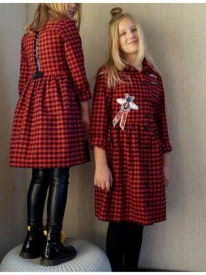 Платье для девочки баевое в красную клеточку 054