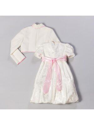 Платье для девочки кремовое с розовым поясом Roksana