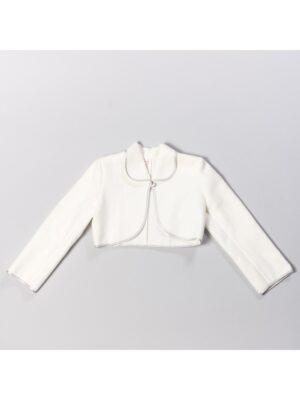 Болеро для дівчинки тепле молочного кольору з кантом кольору Срібла