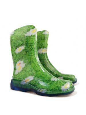 Резиновые сапоги женские зеленые Romashka