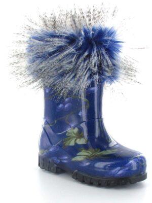 Резиновые сапоги для девочки с опушкой синие vogue c Twister