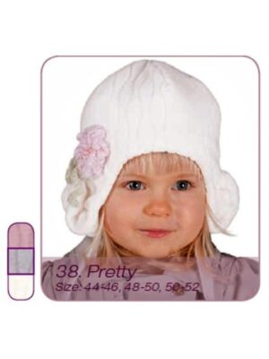 Зимняя шапочка для девочки флисовая белая Pretty