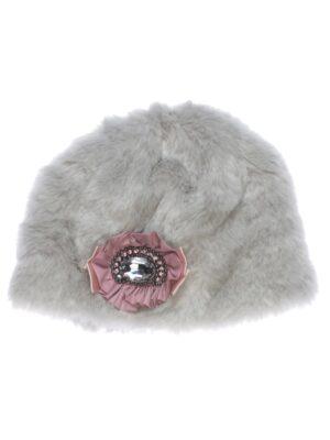 Зимняя шапочка для девочки меховая серая Carmen