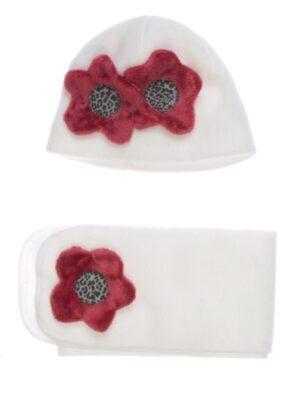 Зимняя шапка и шарф для девочки белая Malina