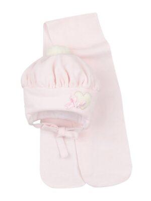 Зимняя шапка для девочки малышки розового цвета Lola