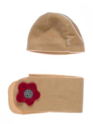 Зимняя шапка и шарф для девочки бежевая Malina