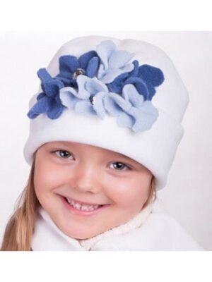 Зимовий комплект для дівчинки флісовий білий з синіми кольорами Roxana