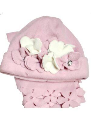 Зимовий комплект для дівчинки рожевий з білими нашитими квітками Roxana