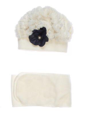 Зимняя шапка для девочки молочная с цветком Leticia