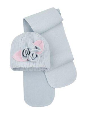 Зимняя шапка с шарфиком для девочки серая Eliza