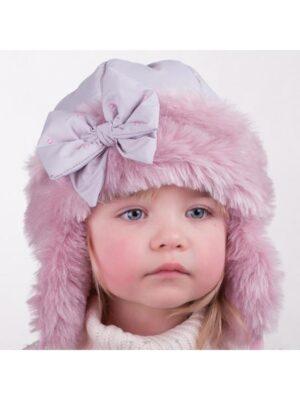 Зимняя шапка для девочки ушанка с плащевки Luiza