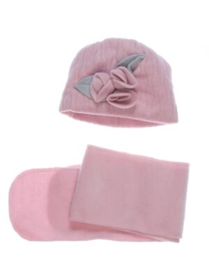 Зимняя шапка с шарфиком для девочки розовая Eliza