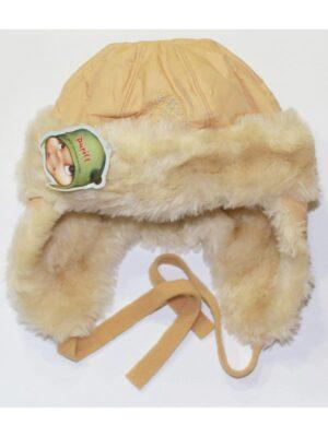 Зимняя шапочка белая плащевка для девочки Sniezka