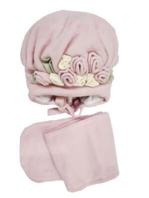 Зимовий комплект для дівчинки рожевий флісовий з нашитою квіткою Golden