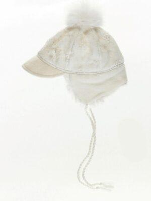 Шапка зимняя для девочек белого цвета с натуральным мехом
