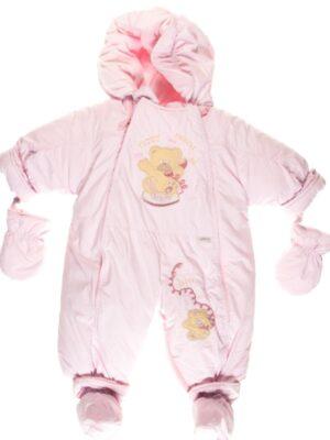Комбинезон для новорожденных 2 в 1 на овчине малиновый Friends Teddy