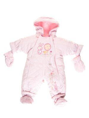 Комбинезон демисезон для новорожденного розовый Pikowany