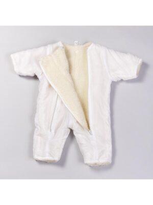Комбинезон зимний для новорожденного белый на овчине 2 в 1 Kokardki