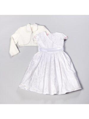 Платье для девочки белое нарядное в белые цветы Telimena