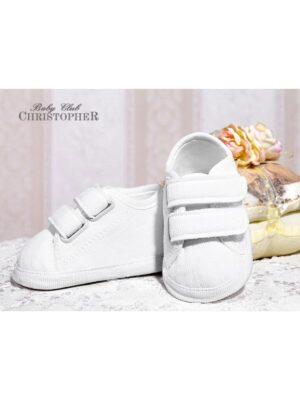 Пінетки-кросівки вельветові білого кольору