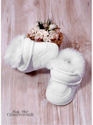 Пінетки Велюрові білого кольору з хутряним декором