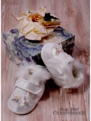 Пінетки кремові на липучці з хутряним декором