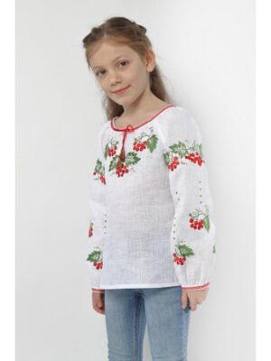 Вишиванка для дівчинки Біла льяна вишивка калини Калина