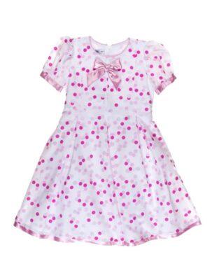 Платье хлопковое в белый и розовый горох Gosia