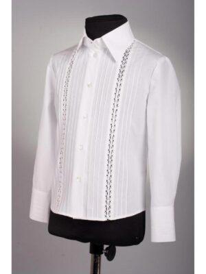 Блуза білого кольору з довгим рукавом для дівчинки 185