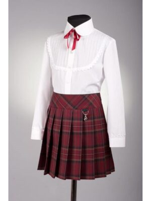 Школьная юбка бордового цвета в крупную клетку