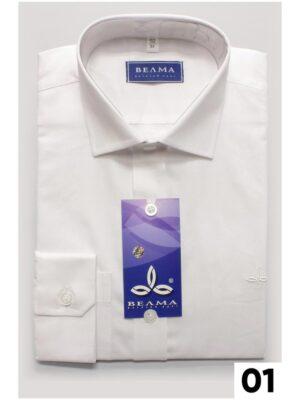 Рубашка однотонная белая для мальчика