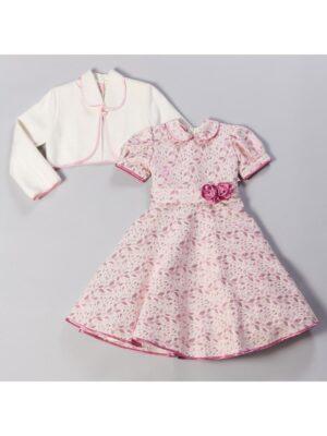 Платье с болеро нарядное из тафты молочное с розовым Iza