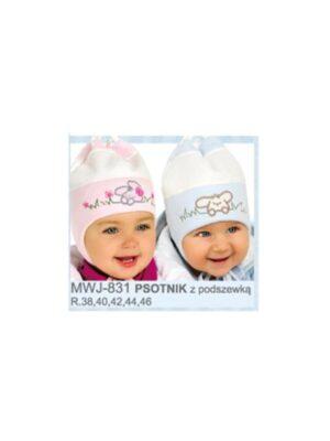 Шапка для новорожденных малышей с зайчиком Psotnik