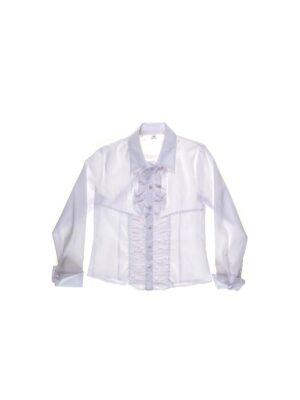 Блуза белая классическая с жабо на груди