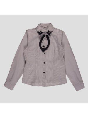 Блузка для девочки школьная серая в полоску с галстуком