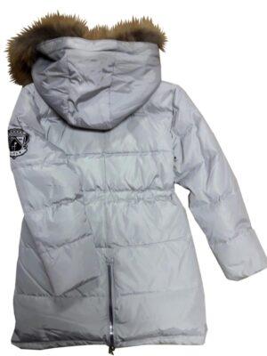 Пуховое пальто для девочки светло серое