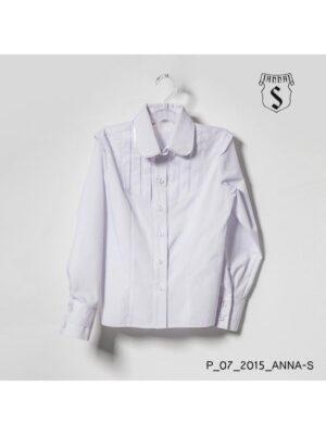 Блуза для дівчинки біла з довгим рукавом і кокеткою на грудях