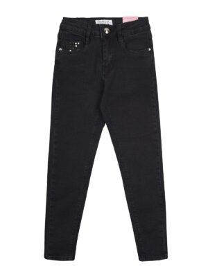 Брюки потертые джинсовые для девочки черные 84516
