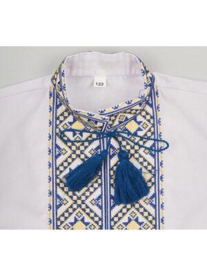 Вишиванка для хлопчика з жовто-блакитною вишивкою Тризуб