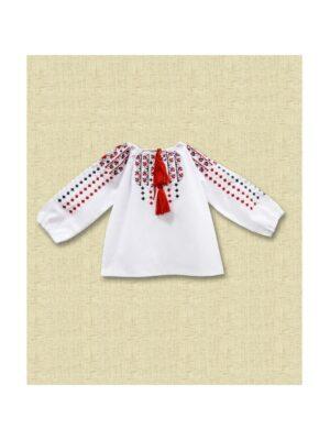 Вишиванка для дівчинки з червоною вишивкою Перлинка