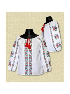 Вишита блуза для дівчинки з довгим рукавом Веселка